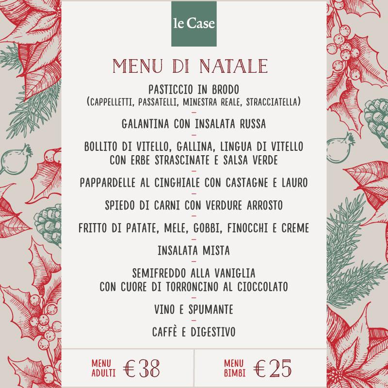 Menu del pranzo di Natale 2016 al Ristorante Le Case a Macerata